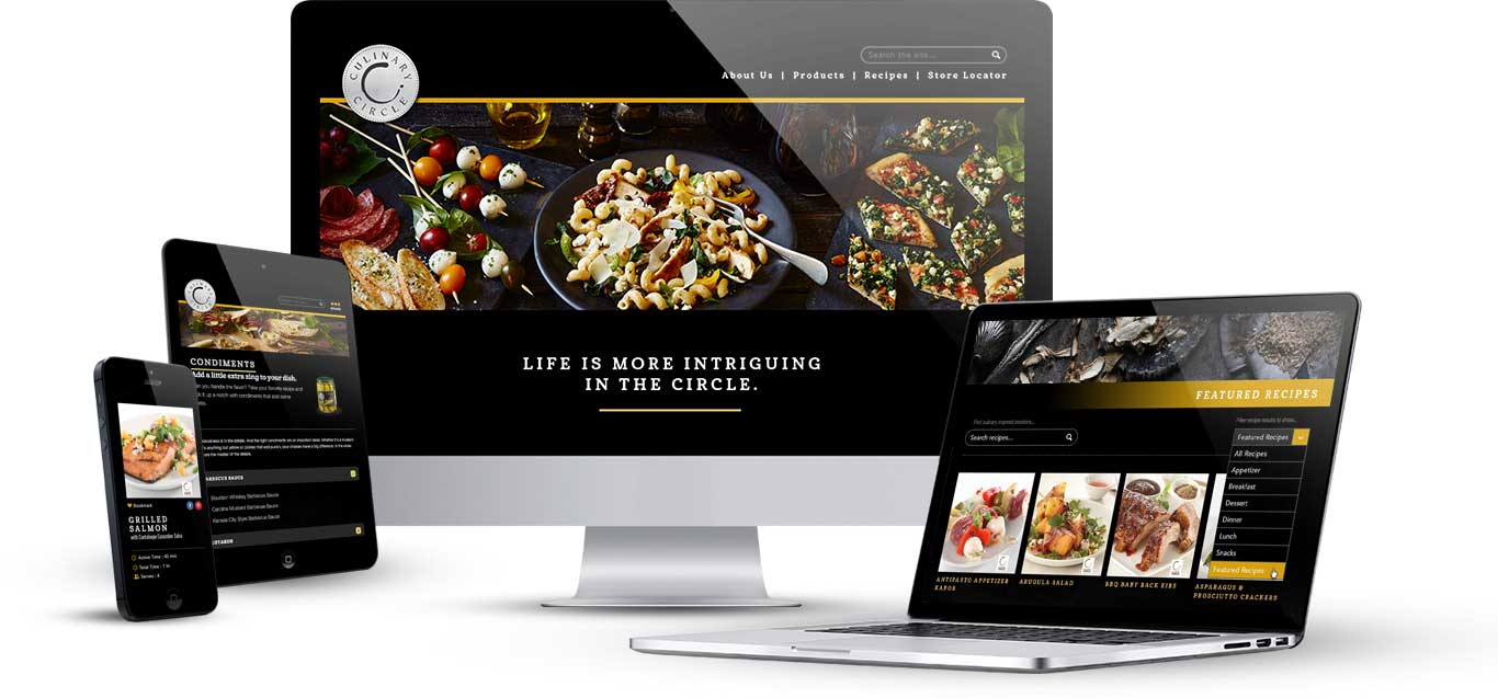 Culinary circle website on a desktop computer, laptop, tablet, and mobile phone