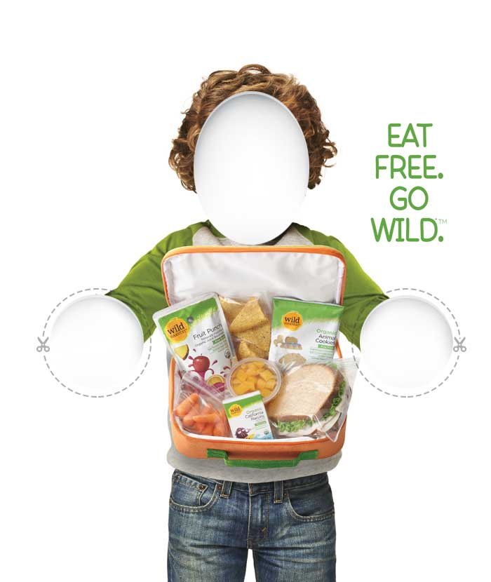 Cardboard cutout of kid holding lunchbox for community engagement