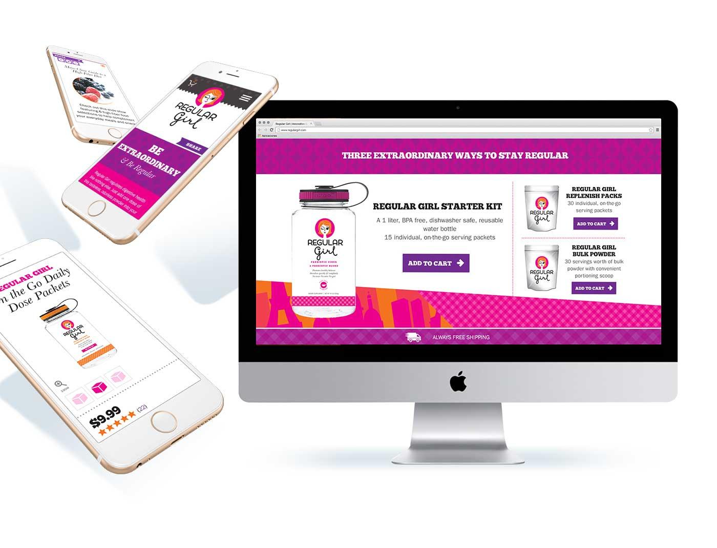 Regular Girl website on a desktop and mobile