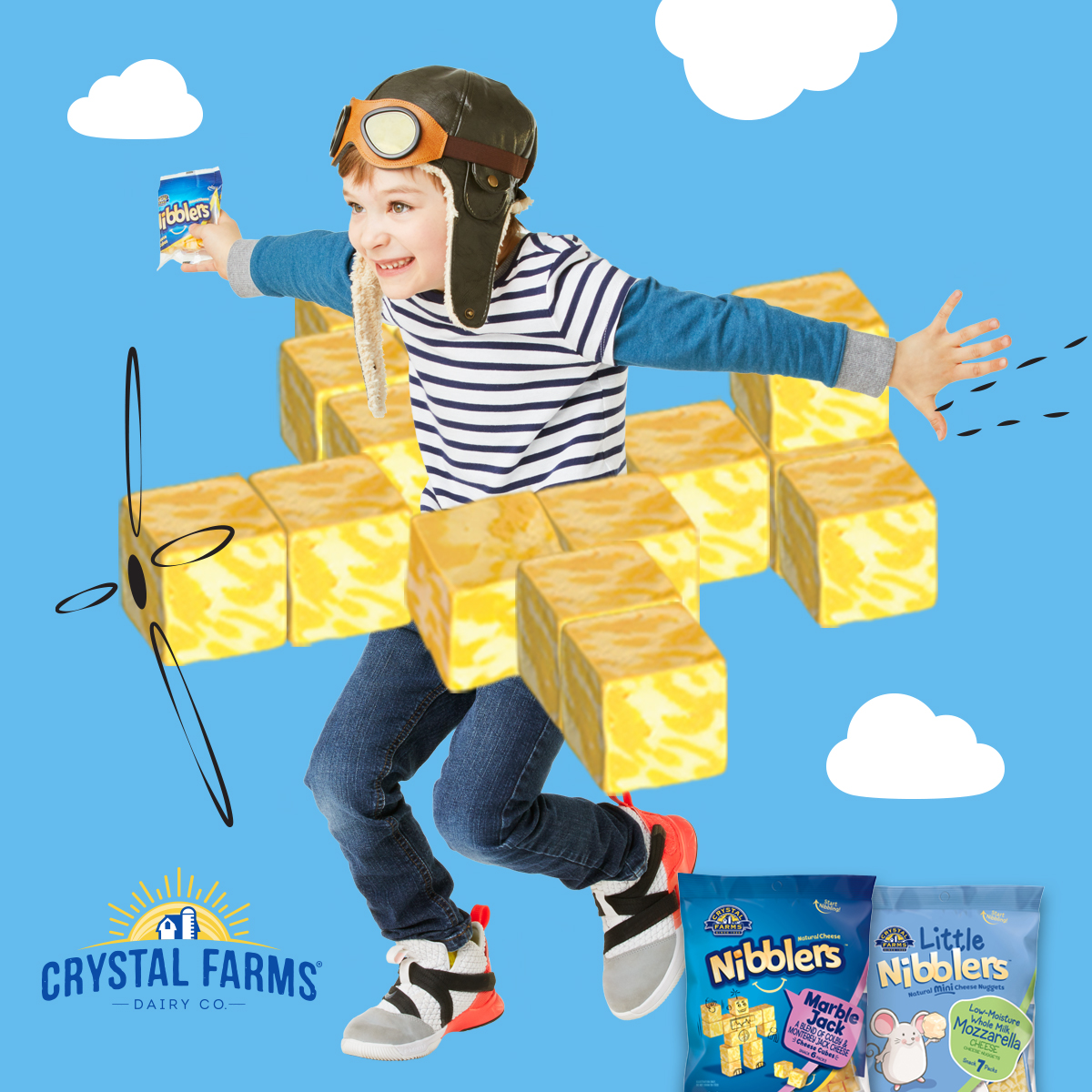 Crystal Farms boy flying in cheese plane