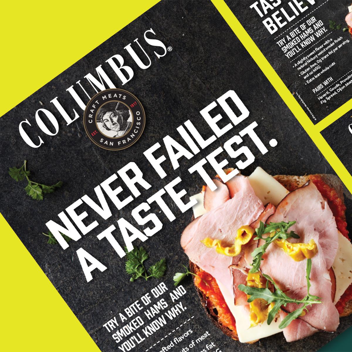 Overhead shot of Columbus print ad