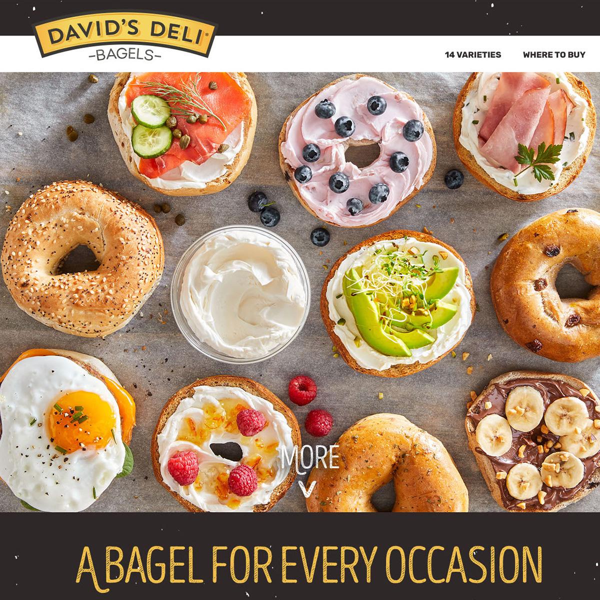David's Deli Bagels screenshot of website