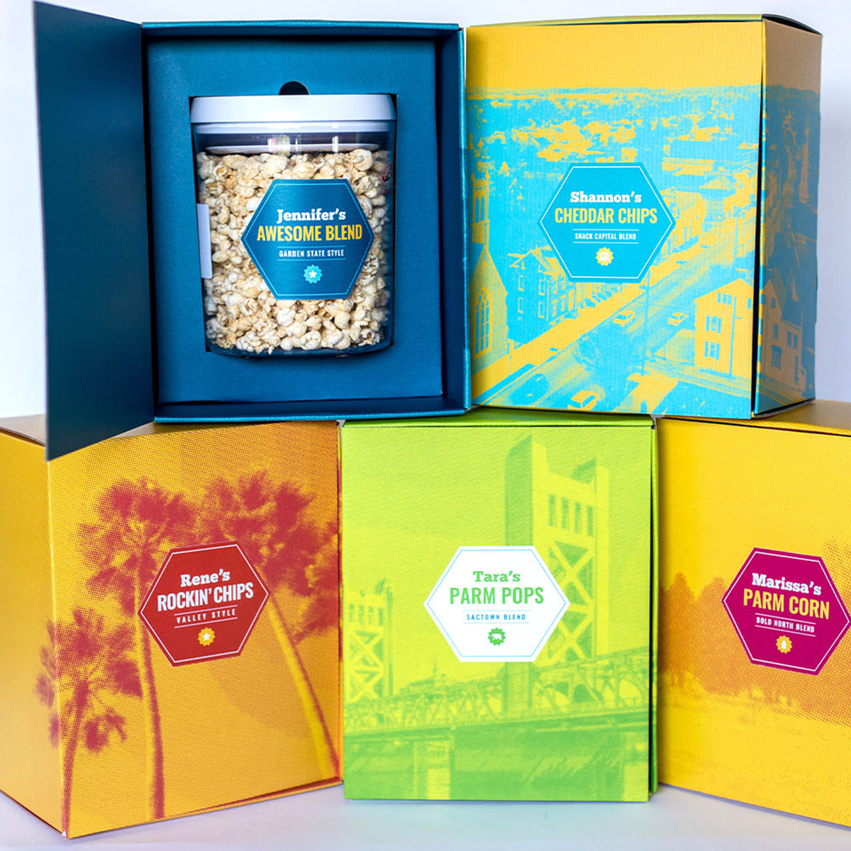 Land O'Lakes direct mail boxes with popcorn