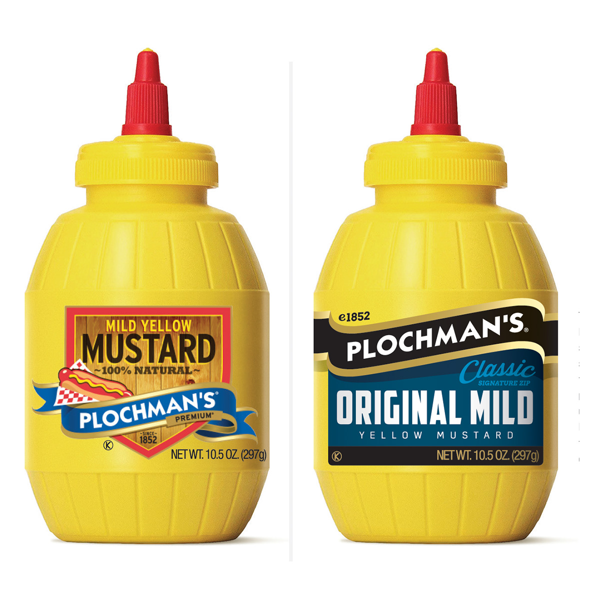 Plochman's yellow mustard bottles with old and new branding