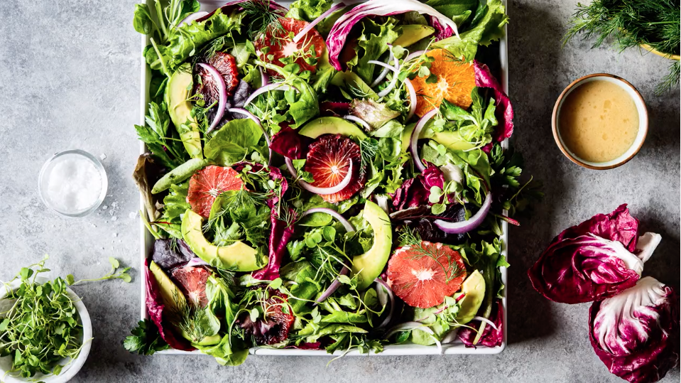 Overhead photo of salad in square plate