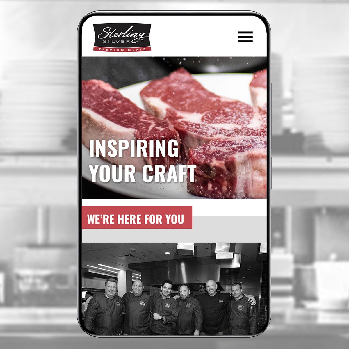 Sterling Silver Premium Meats phone shot of website