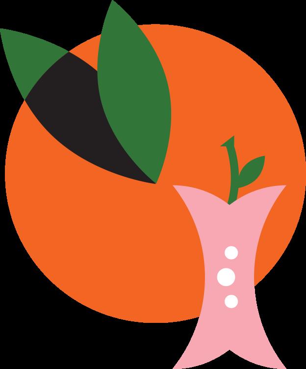 illustrated orange and apple core